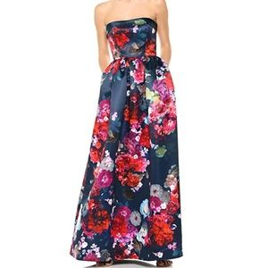 Parker Black Label Floral Strapless Gown